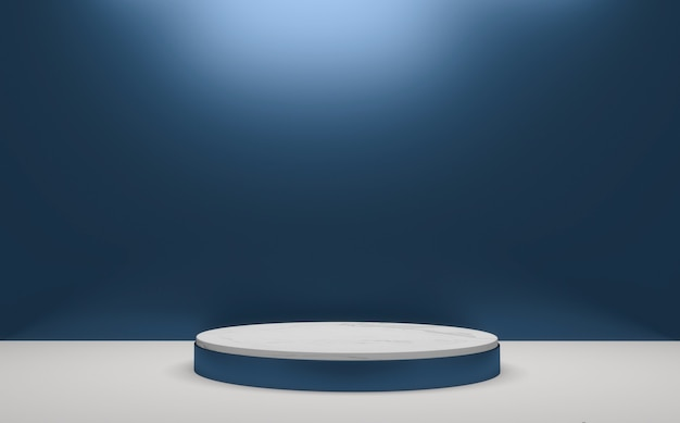 Blue glossy podium minimal geometric, dark style abstract.3d rendering