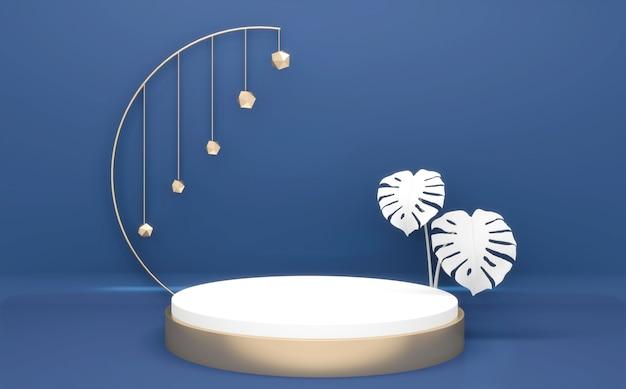 Blue glossy podium minimal geometric, dark style abstract.3d rendering