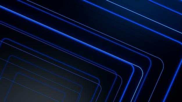 青く光るネオンラインは、ハイテクの未来的な動きを抽象化します
