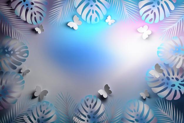 Голубой светящийся тропик с бабочками
