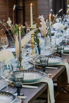 Blue and gold boho wedding decor. Premium Photo