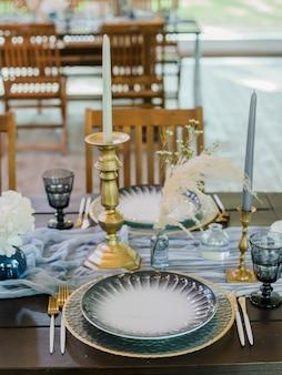 Blue and gold boho wedding decor.