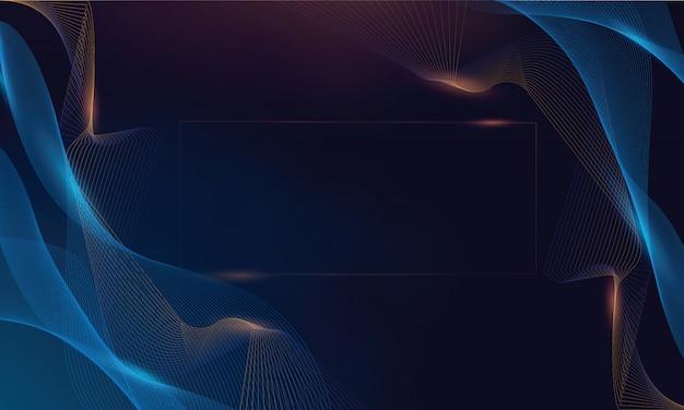 Blue gold wave line modern background