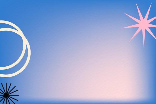 복고풍 테두리가 있는 추상 멤피스 스타일의 파란색 그라데이션 배경