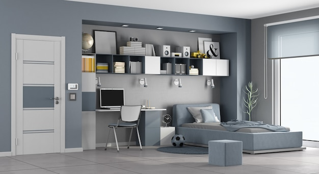 Blue and gray teen room