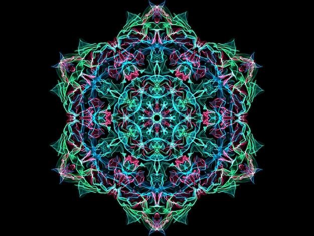 青、緑、ピンクの抽象的な炎マンダラスノーフレーク、装飾用花丸型