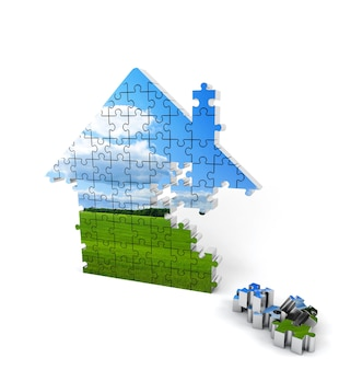 Blue and green house consisting of puzzles