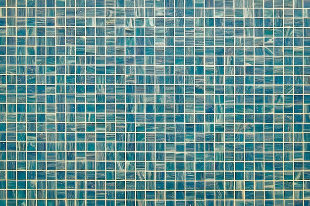 Blue and green mosaic wall background texture