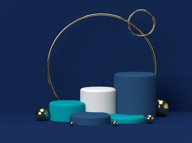 Blue and green pastel product stand on background. abstract minimal geometry concept.3d rendering