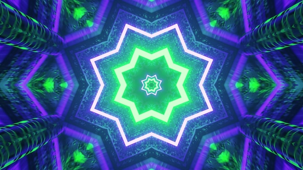 Blue and green star shaped tunnel 4k uhd 3d illustration