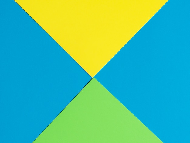 Blue green yellow paper background. geometric figures, shapes. abstract geometric flat composition