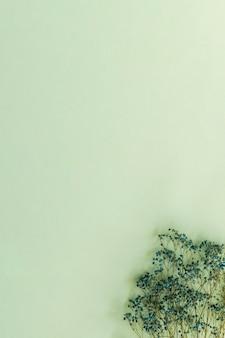 柔らかい緑の背景に青いカスミソウの花束