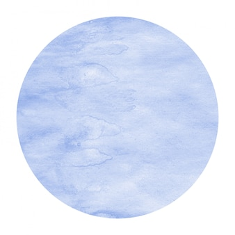 Blue hand drawn watercolor circular frame background texture with stains