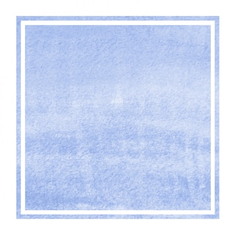 Blue hand drawn watercolor rectangular frame background texture with stains