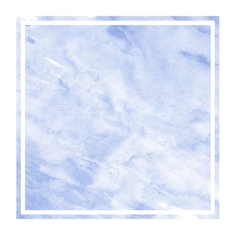 青い手描きの汚れと水彩長方形フレーム背景テクスチャ