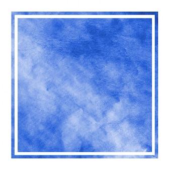 青い手描き水彩長方形フレーム