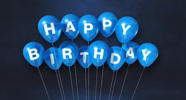 Синие воздушные шары с днем рождения на черной сцене. горизонтальный баннер. 3d визуализация
