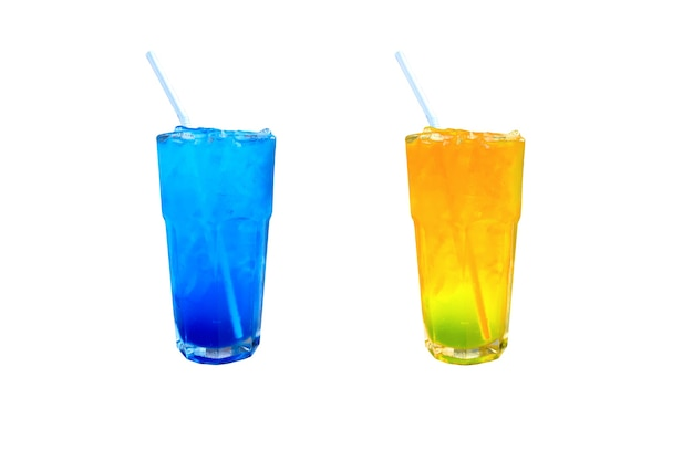 Blue hawaii and orange juice cocktail with ice on white background