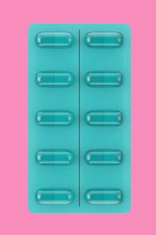 분홍색 배경에 이중톤 스타일의 블리스터 팩의 파란색 건강 관리 캡슐. 3d 렌더링