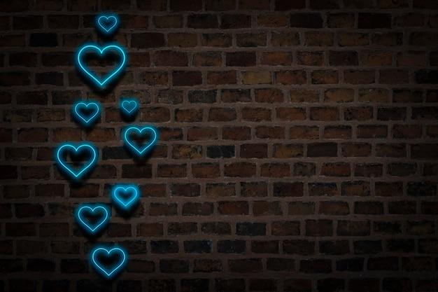 青いハート、火の壁の背景にネオンサイン。バレンタインデーのコンセプト、愛。