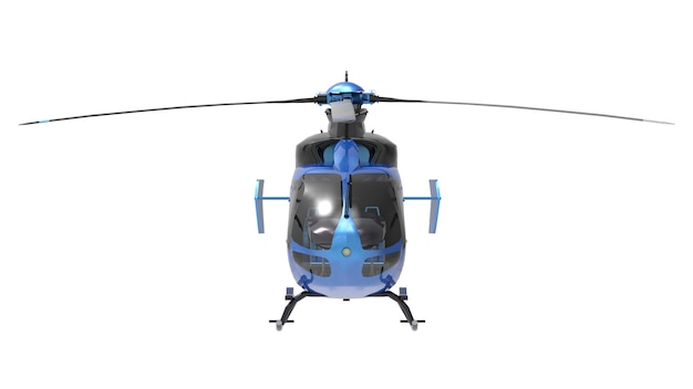 Blue helicopter isolated on the white