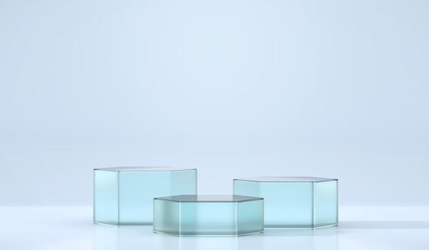 광고 제품 디스플레이 배경 3d 렌더링을위한 파란색 육각형 무대 연단 플랫폼