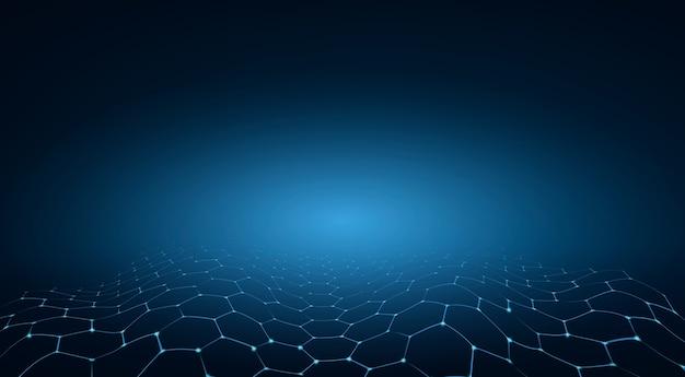 Синий шестиугольник технологии фон