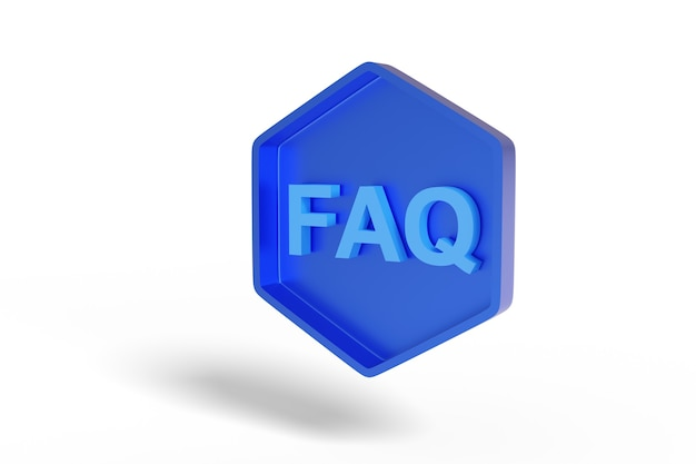 Синий шестиугольный знак с текстом faq.