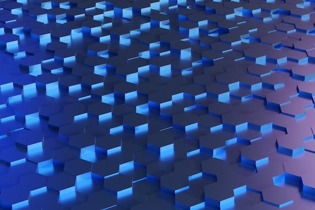 Синий образец шестиугольников. абстрактный фон.
