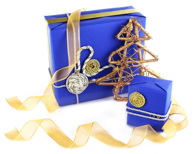 블루 크리스마스 선물 상자 흰색 절연