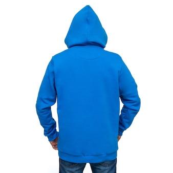 孤立した男のフード付きの青いパーカー