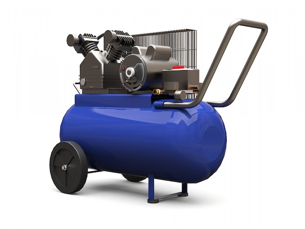 Blue horizontal air compressor isolated on a white surface