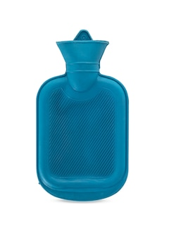 Blue hot water bag on white