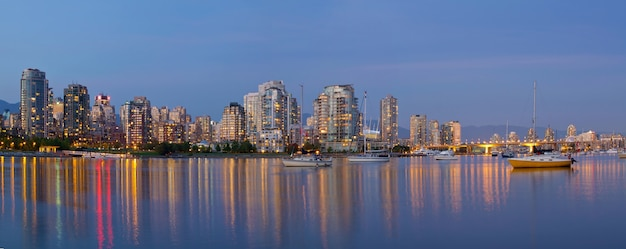 Blue hour at false creek vancouver bc canada