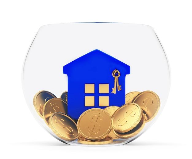 Значок синий дом на монетах в стеклянной миске