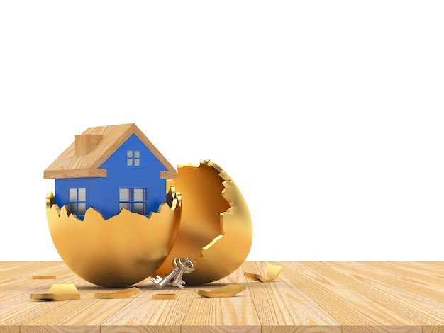 Blue house inside on a broken golden easter egg shell