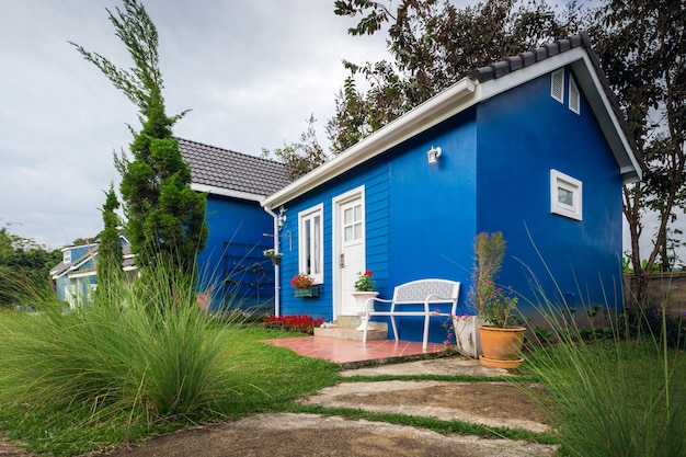 Blue house. various home design and decoration.