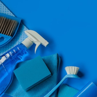 Blue household kit for spring cleaning