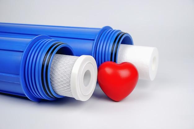 Фильтр предварительной очистки водоочистителя синего цвета и картридж