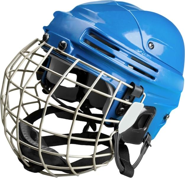 透明な背景で隔離のケージ付きブルーアイスホッケーヘルメット