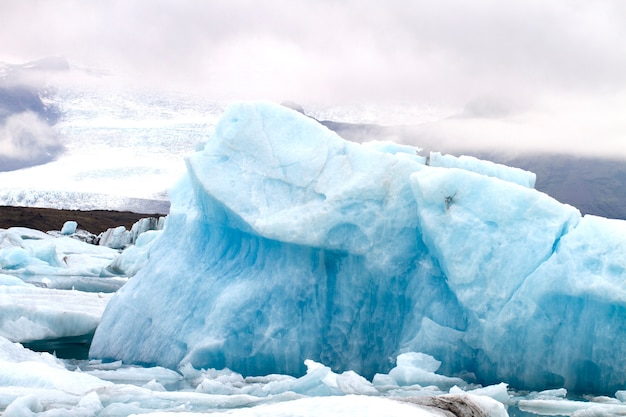 Blue ice in the vatnajökull glacier in iceland