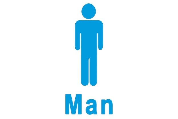 Синий рисунок мужчин на белом фоне