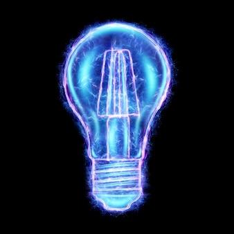 黒の背景、3dレンダリング、3dイラストに分離された青い白熱電球のホログラム。