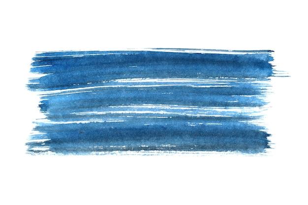 흰색 배경에 고립 된 파란색 잉크 브러시 스트로크 - 텍스트를 위한 공간