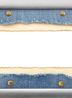 Синий джинсовый и старый бумажный фон