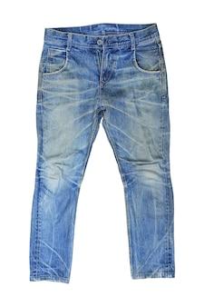 ブルー ジーンズは、白い背景で隔離。男性のデニムの服の正面 - クリッピング パス