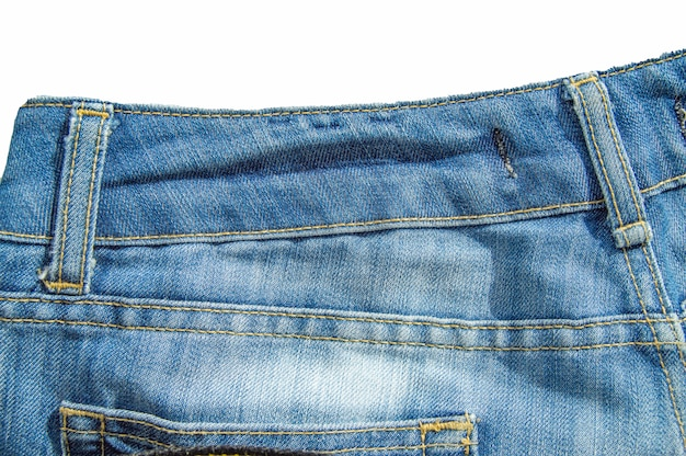 Blue jeans isolated on white background with clipping path, flat lay