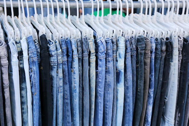 Blue jeans in shop