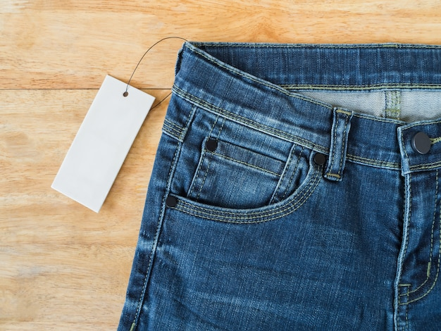 Blue jeans with white blank price tag