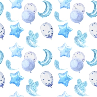 Бесшовный узор голубого малыша с яркими блестящими воздушными шарами, звездами и перьями